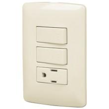 Placas con contacto y 2 interruptores sencillos, Línea Italiana