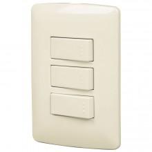 Placas con 2 interruptores sencillos +1 de 3 vías, Línea Italiana