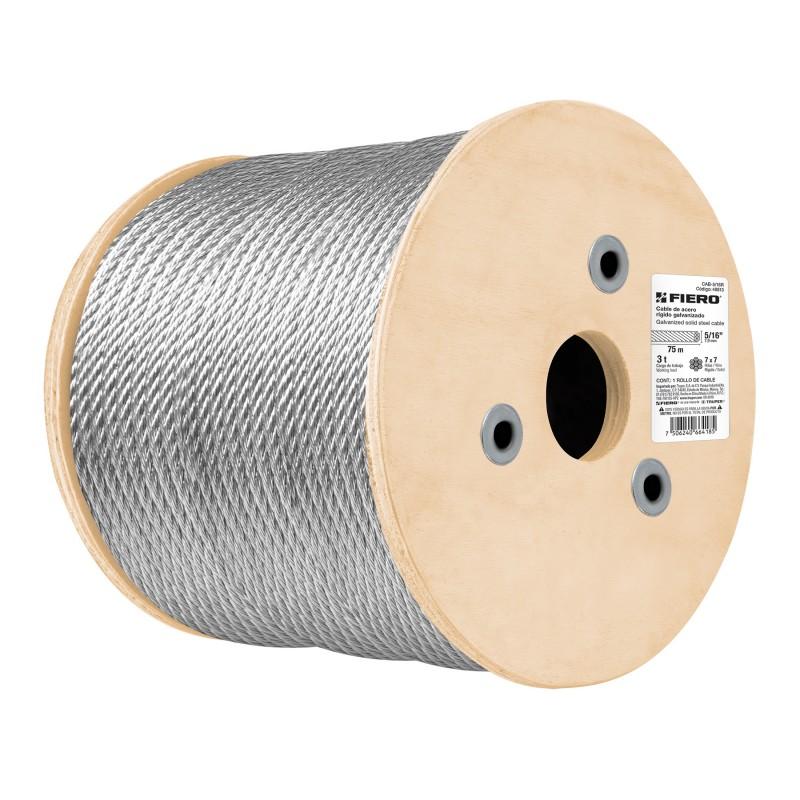 Cables de acero, 7x19 hilos, 75 mts