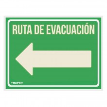 """Letrero Señalización """"Ruta Evacuación Izquierda"""""""