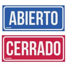"""Letrero Señalización """"Abierto/Cerrado"""""""