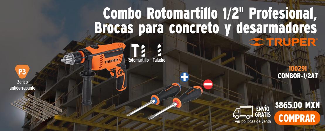 Combo Rotomartillo 650 W con Brocas y Desarmadores